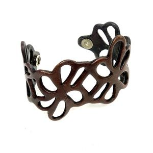 Chocolate Brown Leather Cuff Bracelet